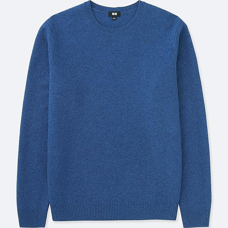 MEN PREMIUM LAMBSWOOL CREW NECK LONG-SLEEVE SWEATER, BLUE, large