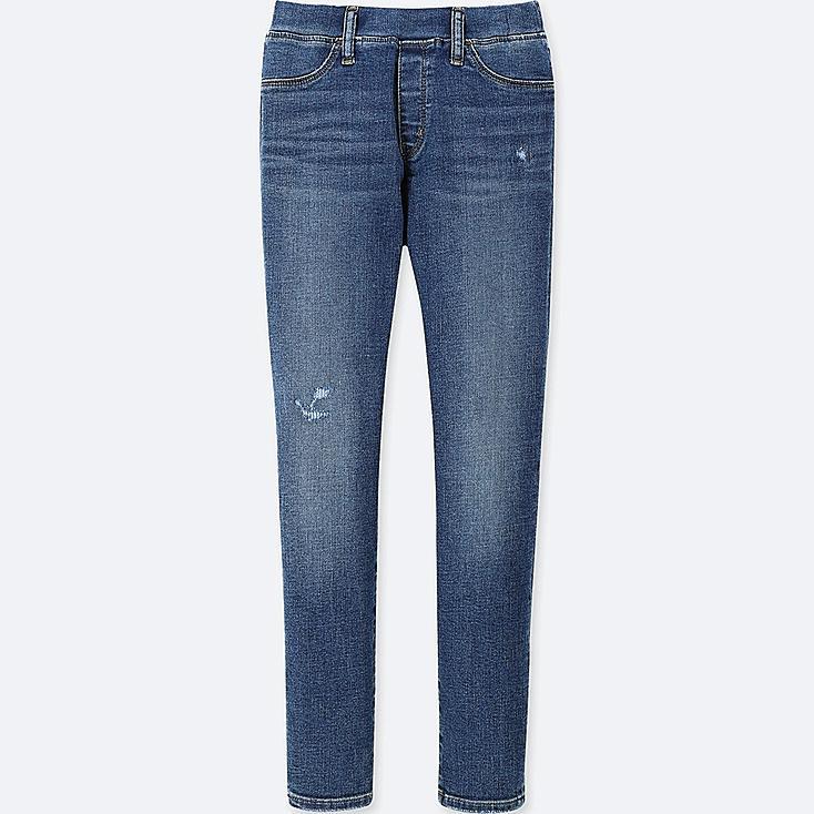 GIRLS ULTRA STRETCH SKINNY DAMAGED DENIM PANTS, BLUE, large