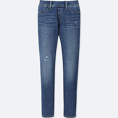 GIRLS ULTRA STRETCH SKINNY DAMAGED DENIM PANTS, BLUE, medium
