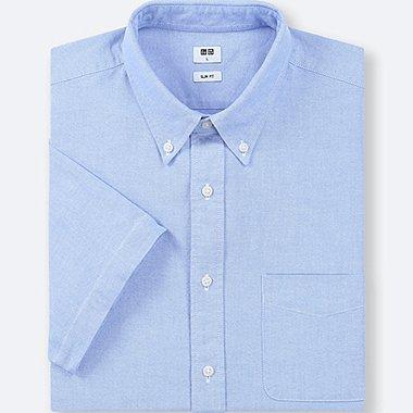 MEN OXFORD SLIM-FIT SHORT-SLEEVE SHIRT, BLUE, medium