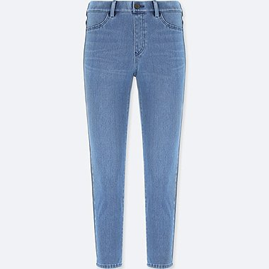 WOMEN DENIM CROPPED LEGGINGS PANTS, BLUE, medium