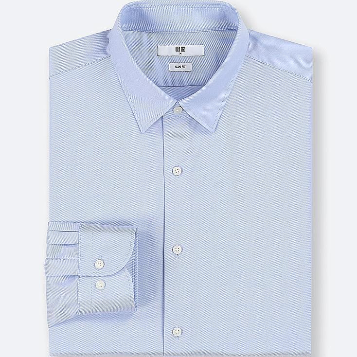 MEN EASY CARE DOBBY SLIM-FIT LONG-SLEEVE SHIRT, BLUE, large