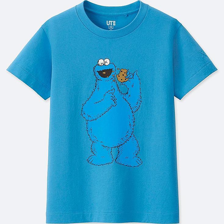 KIDS KAWS X SESAME STREET GRAPHIC T-SHIRT, BLUE, large