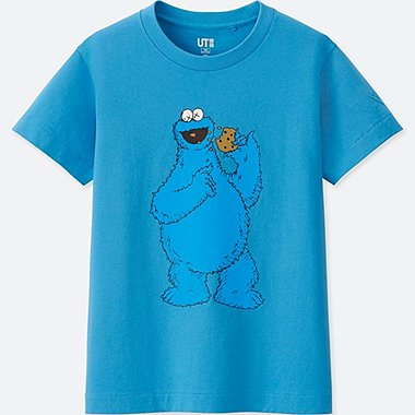 KIDS KAWS X SESAME STREET GRAPHIC T-SHIRT, BLUE, medium