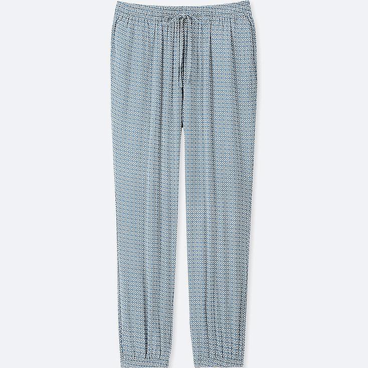 WOMEN GEOMETRIC-PRINT DRAPE JOGGER PANTS, BLUE, large