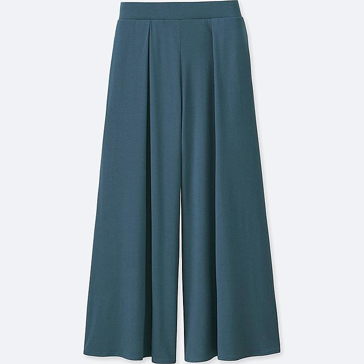 WOMEN JERSEY FLARE PANTS, BLUE, large