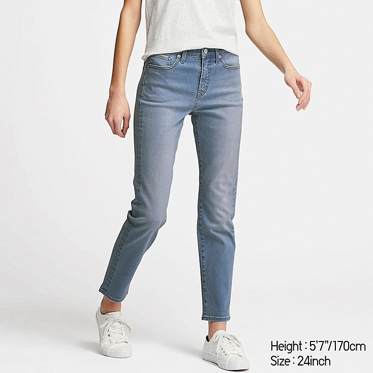 WOMEN COMPRESSION HIGH-RISE SKINNY ANKLE JEANS, BLUE, large