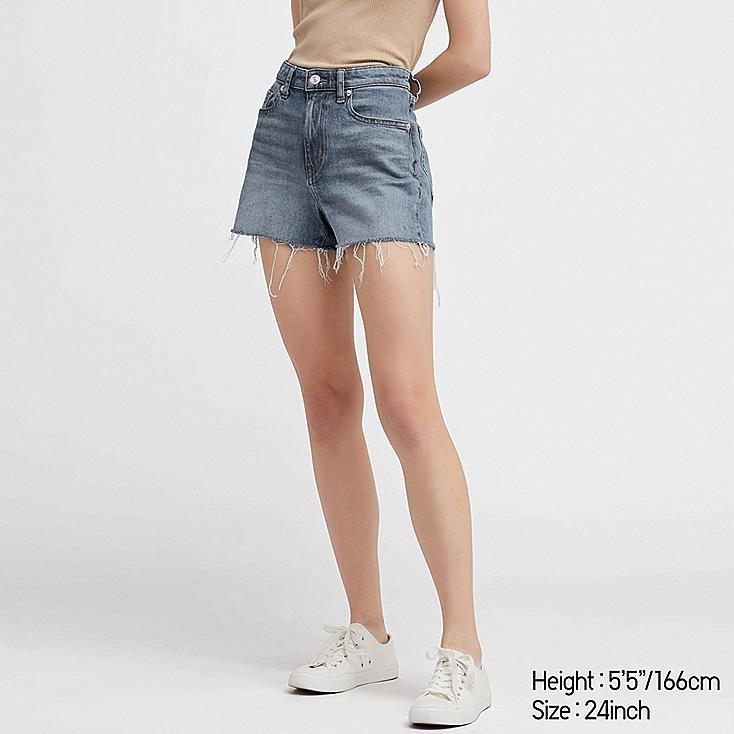 WOMEN HIGH-RISE SLIM-FIT DENIM SHORTS, BLUE, large