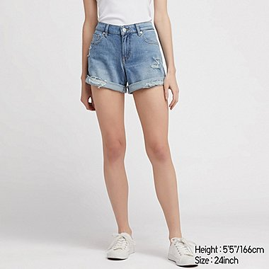 WOMEN MID-RISE ROLL-UP DENIM SHORTS (ONLINE EXCLUSIVE), BLUE, medium