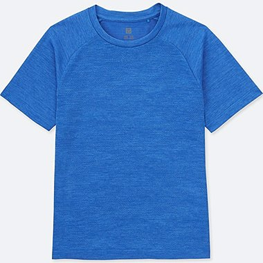 KIDS DRY-EX SHORT-SLEEVE CREWNECK, BLUE, medium