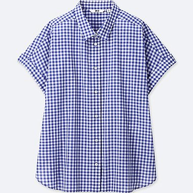 WOMEN SOFT COTTON CHECKED SHORT-SLEEVE SHIRT, BLUE, medium