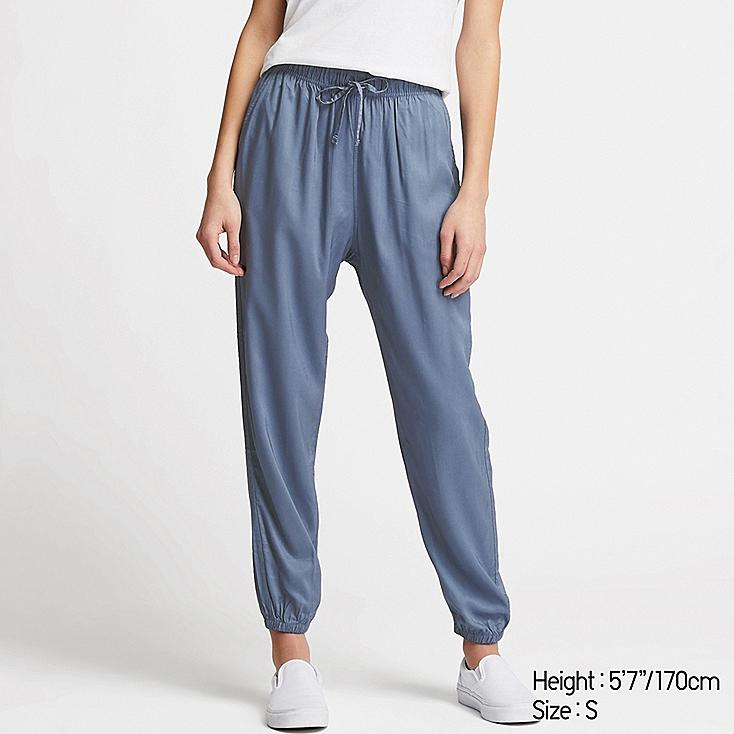 WOMEN DRAPE JOGGER PANTS, BLUE, large