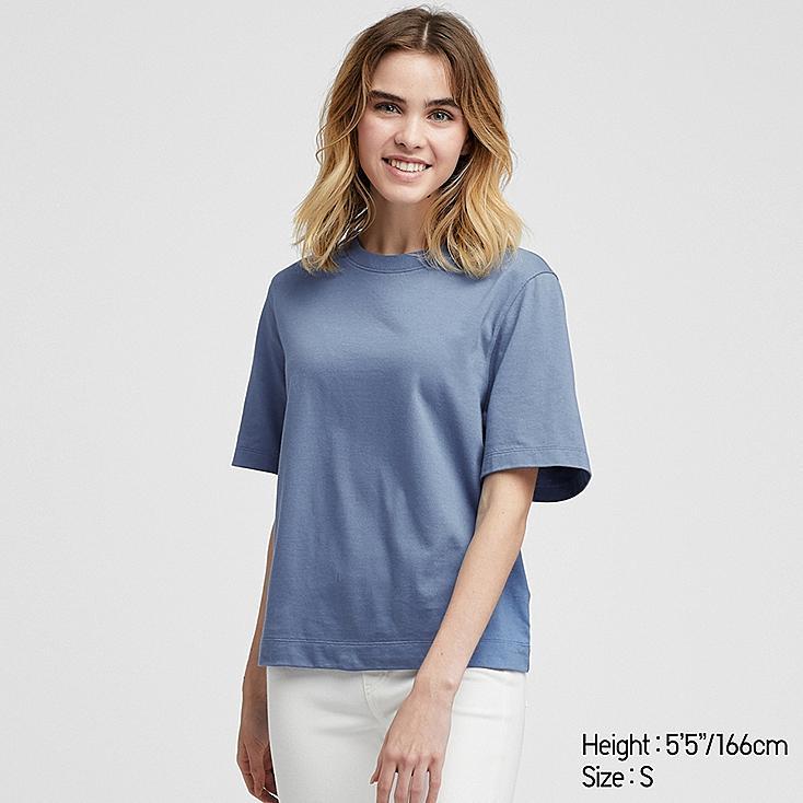 WOMEN CROPPED CREW NECK SHORT-SLEEVE T-SHIRT, BLUE, large