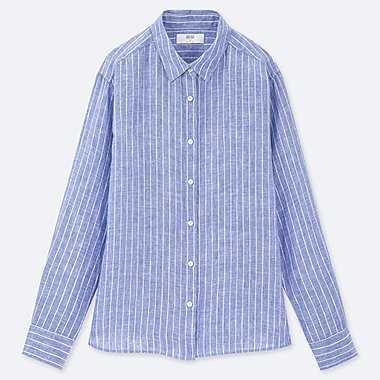 WOMEN PREMIUM LINEN STRIPED LONG-SLEEVE SHIRT, BLUE, medium