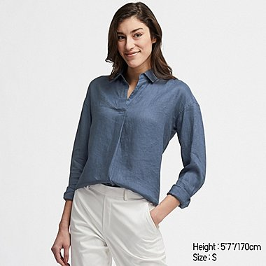 WOMEN PREMIUM LINEN SKIPPER COLLAR LONG-SLEEVE SHIRT, BLUE, medium