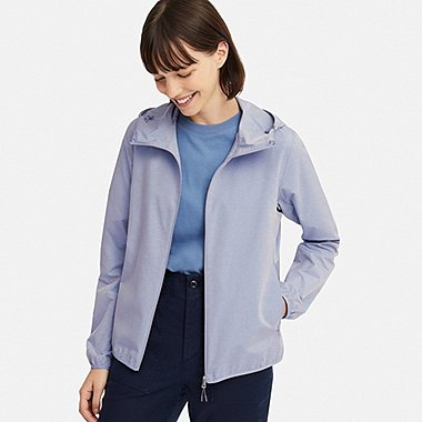 WOMEN POCKETABLE UV CUT PARKA, BLUE, medium