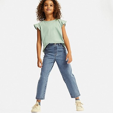 GIRLS ULTRA STRETCH DENIM RELAXED FIT ANKLE PANTS, BLUE, medium