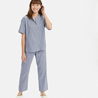 WOMEN COTTON LINEN SHORT-SLEEVE PAJAMAS, BLUE, medium