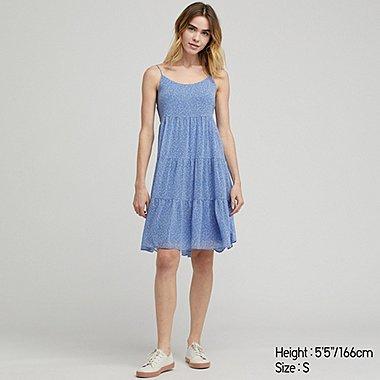 WOMEN GEORGETTE CAMI DRESS, BLUE, medium