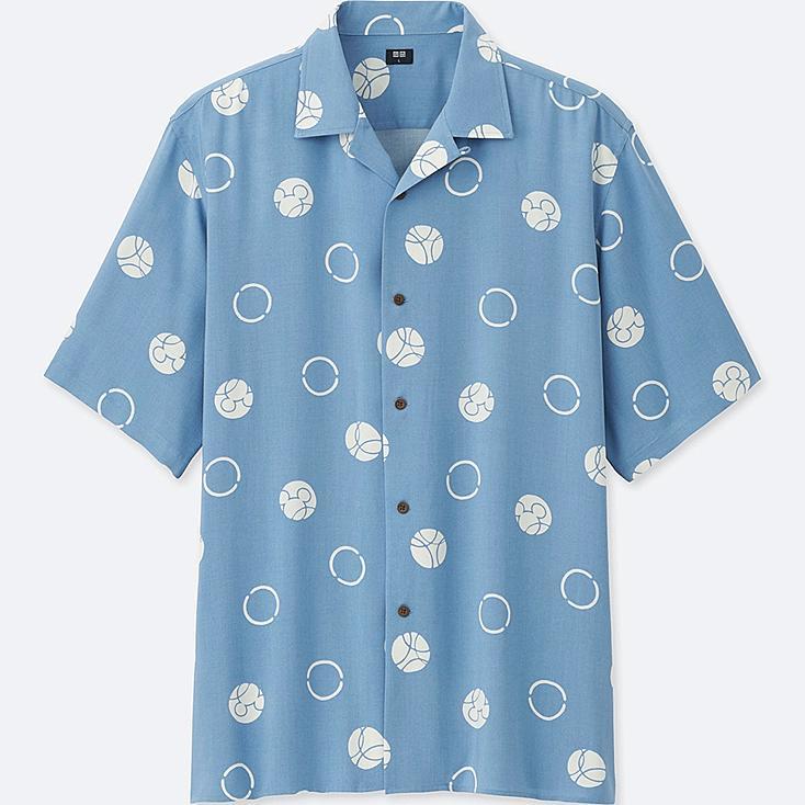 MEN MICKEY BLUE OPEN COLLAR SHORT-SLEEVE SHIRT, BLUE, large