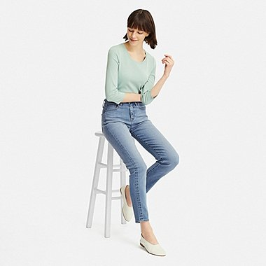 "WOMEN COMPRESSION HIGH-RISE SKINNY STRAIGHT ANKLE JEANS (TALL 31"") (ONLINE EXCLUSIVE), BLUE, medium"