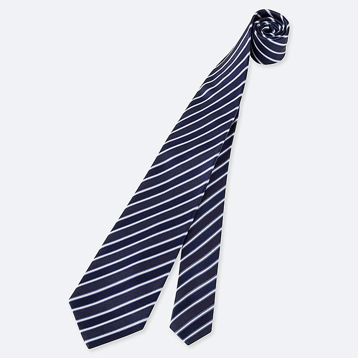 MEN STRIPED SILK TIE, BLUE, large