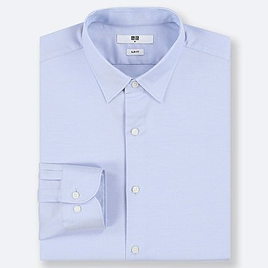 MEN EASY CARE DOBBY STRETCH SLIM-FIT LONG-SLEEVE SHIRT, BLUE, medium