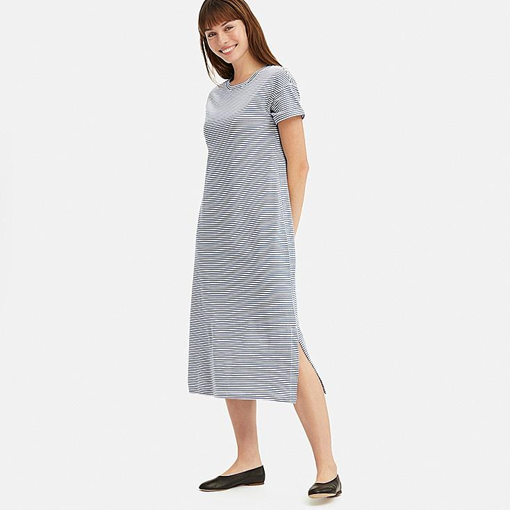 WOMEN SHORT-SLEEVE RELAX DRESS (WITH PADDING), BLUE, large