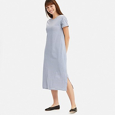 WOMEN SHORT-SLEEVE RELAX DRESS (WITH PADDING), BLUE, medium