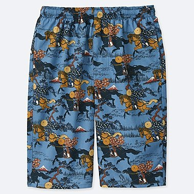 MEN HOKUSAI BLUE LIGHT COTTON EASY SHORTS, BLUE, medium