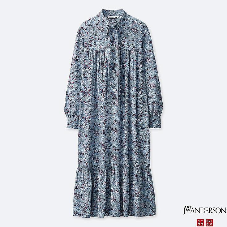 WOMEN GATHERED LONG-SLEEVE DRESS (JW Anderson), BLUE, large