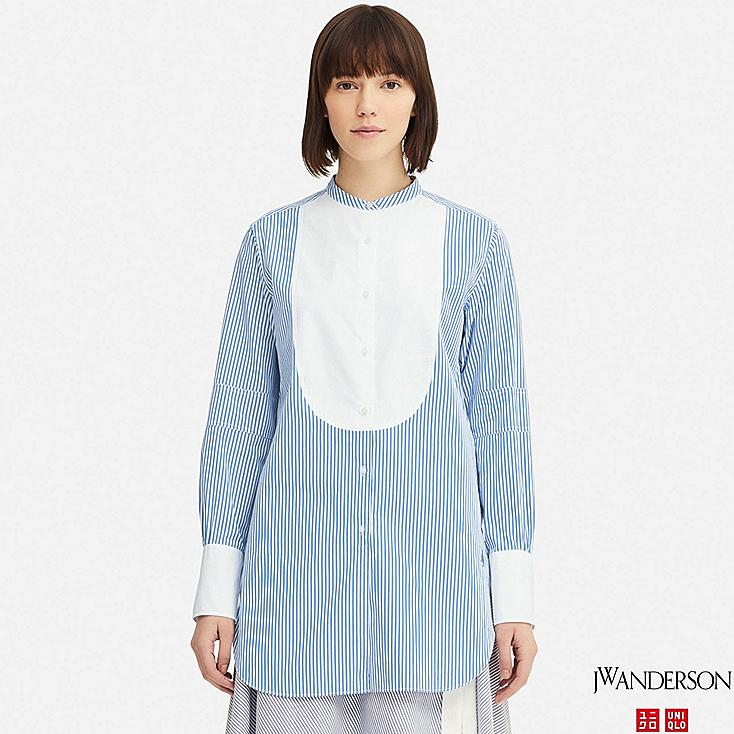 WOMEN TUXEDO STRIPED LONG-SLEEVE LONG SHIRT (JW Anderson), BLUE, large