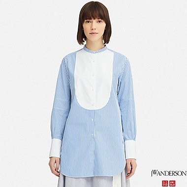 WOMEN TUXEDO STRIPED LONG-SLEEVE LONG SHIRT (JW Anderson), BLUE, medium