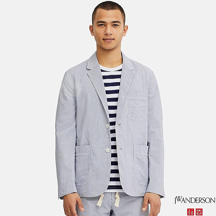 MEN TAILORED JACKET (SEERSUCKER) (JW Anderson), BLUE, large