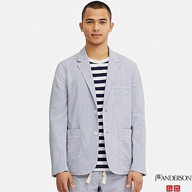 MEN TAILORED JACKET (SEERSUCKER) (JW Anderson), BLUE, medium