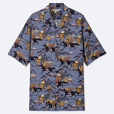 MEN HOKUSAI BLUE OPEN COLLAR SHORT-SLEEVE SHIRT, BLUE, medium