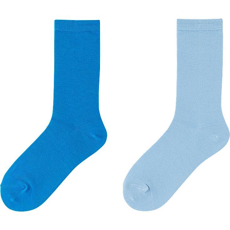 WOMEN HEATTECH SOCKS 2 PAIRS, BLUE, large