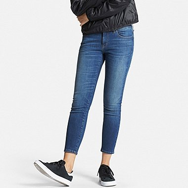 Womens Ultra Stretch Ankle Jeans, BLUE, medium
