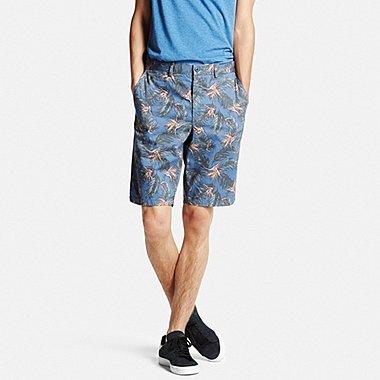 Men Chino Patterned Shorts, BLUE, medium