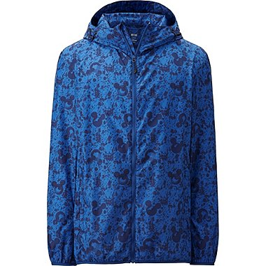 Mens Disney Project Packable Hooded Jacket, BLUE, medium