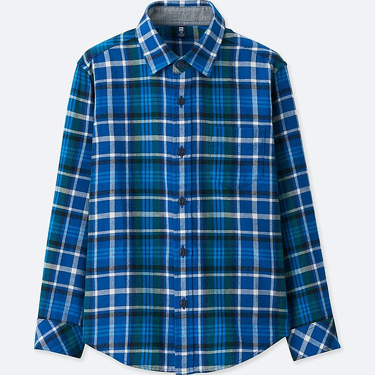 BOYS FLANNEL CHECK LONG SLEEVE SHIRT, BLUE, large