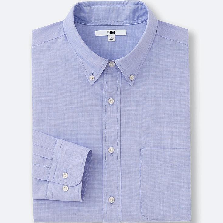 MEN EXTRA FINE COTTON BROADCLOTH LONG SLEEVE SHIRT, BLUE, large
