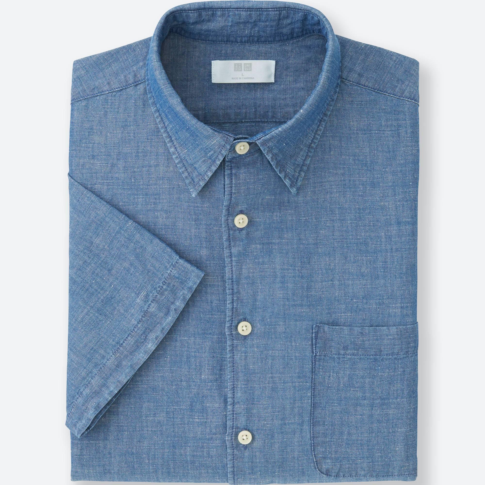 Men Linen Cotton Short Sleeve Shirt Uniqlo Us Hoc Premium Bluedark Full Set Suit Images