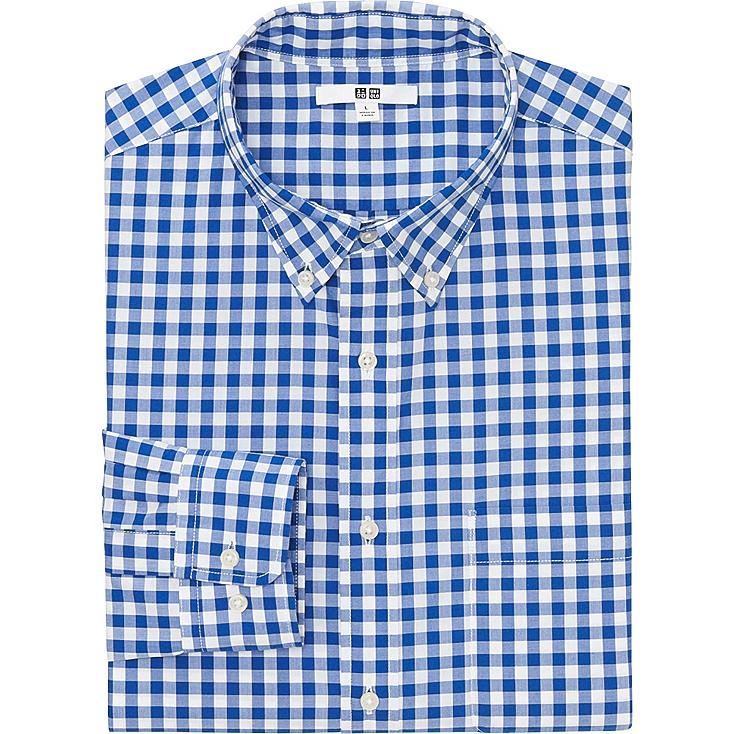 MEN EXTRA FINE COTTON BROADCLOTH CHECKED LONG SLEEVE SHIRT, BLUE, large