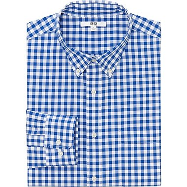 MEN EXTRA FINE COTTON BROADCLOTH CHECKED LONG SLEEVE SHIRT, BLUE, medium
