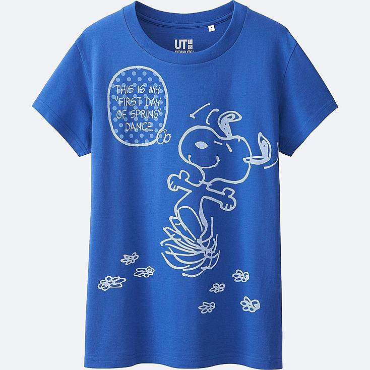 WOMEN PEANUTS SHORT SLEEVE GRAPHIC T-SHIRT, BLUE, large