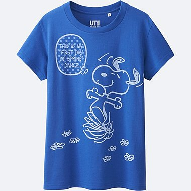 WOMEN PEANUTS SHORT SLEEVE GRAPHIC T-SHIRT, BLUE, medium