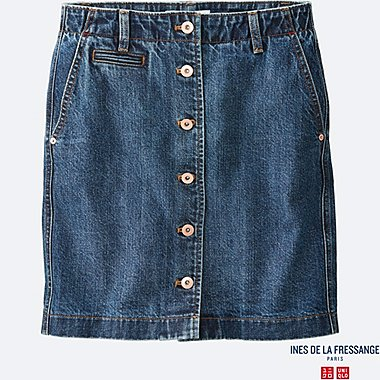 WOMEN IDLF DENIM MINI SKIRT, BLUE, medium