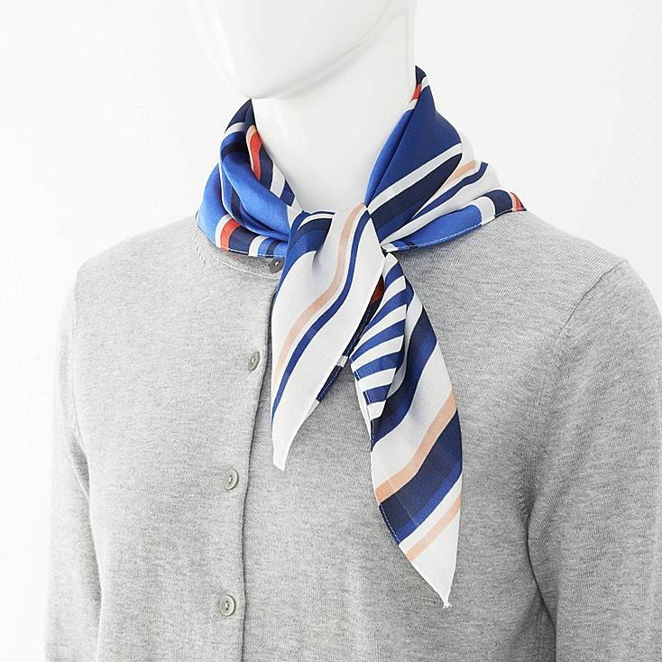 WOMEN SCARF (STRIPE), BLUE, large