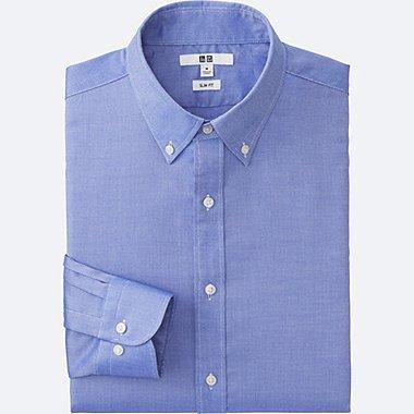 MEN EASY CARE OXFORD SLIM-FIT LONG-SLEEVE SHIRT, BLUE, medium